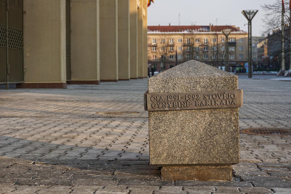 Gedenksteen voor barricade Parlementsgebouw | Vilnius | Litouwen